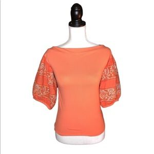 NWT FREE PEOPLE Boho Hot Coral Puff Sleeve Blouse